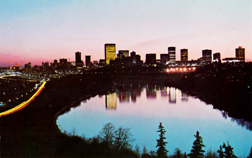smoonie:  Edmonton 80s skyline I found an old postcard in my basement. Look how modest we used to look.