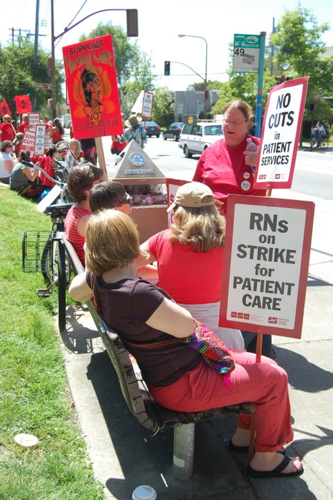 "Alta Bates nurses go on strike! July 03, 2012 Nurses at Alta Bates Summit Hospital on Ashby Avenue in Berkeley plan to strike today, the fifth walk-out since September 2011. The nurses are protesting concession demands they say ""would undermine patient care protections as well as health and living standards for the registered nurses."" Tuesday's strike will affect 3,500 RNs, and also several hundred respiratory, X-ray, and other technicians at seven Alameda and San Mateo county hospitals operated by the Sutter corporation. A rally is planned at Alta Bates at 11:00 a.m. ""It has become necessary to strike again as Sutter has dug in its heels and refused to negotiate on any issue on the table,"" said Alta Bates Summit RN Mike Hill in a statement published online. ""They have said they want every takeaway proposed without exception despite record profits and executive salaries. This stance is unacceptable for our nurses, our communities, and our patients."" Source"