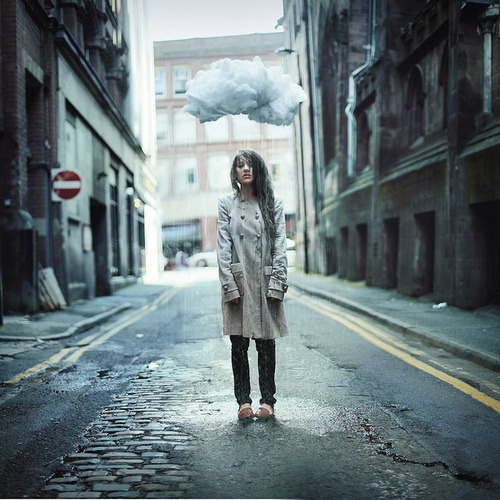 City,Cloud,Coat,Fashion,Girl,Photography,Pretty,Rain,Sad,Town,