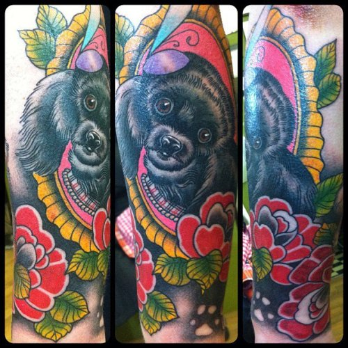 fun miniature poodle tattoo i did on one of my favourite clients from canada, this is on her lower arm, by Guen Douglas presently of Magnum Opus, UK soon to be back at Salon Serpent, Amsterdam