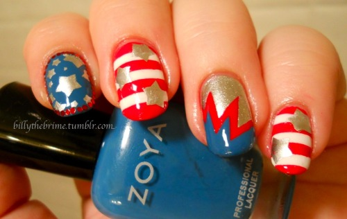 'Merica, fuck yeah! Colors Used: Sinful Colors- Snow Me White Wet n Wild- Red Red Zoya- Breezi L.A. Colors Color Craze- Live Sally Hansen Quick Color- Silver Chrome Bundle Monster plate number BM20
