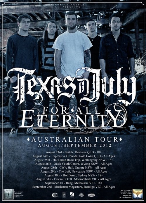 Texas In July Australian tour with For All Eternity.