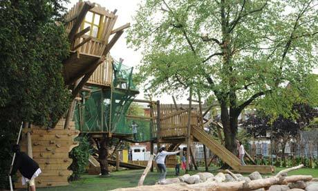 "Kilburn Grange Park adventure playground. Photograph: Erect Architecture  Sense of adventure: what happened to playgrounds that give children space? ""A city that has no room for the child is a diabolical thing,"" wrote the Dutch architect Aldo van Eyck. No architect has cared more about how children inhabit cities than Van Eyck, who in 30 or so years after the end of the second world war built more than 700 playgrounds across Amsterdam. Van Eyck springs to mind because of the London Festival of Architecture, which is tapping into Olympic fever this summer with the theme ""The Playful City"". As part of the programme, two temporary playgrounds are opening in King's Cross next weekend."