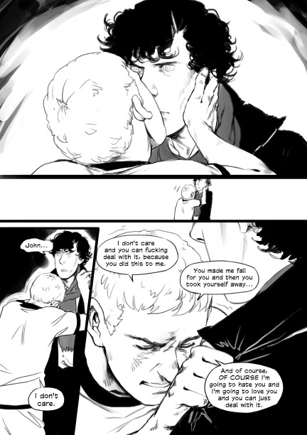 "reapersun:  page 18 it was really cute seeing people read this at the cons, they'd get to the previous page and be like ""are they gonna make out?!"" all excited then they'd go two more pages and get slightly uncomfortable #I DID SAY IT WAS JOHNLOCK #SEVERAL TIMES I SAID IT"