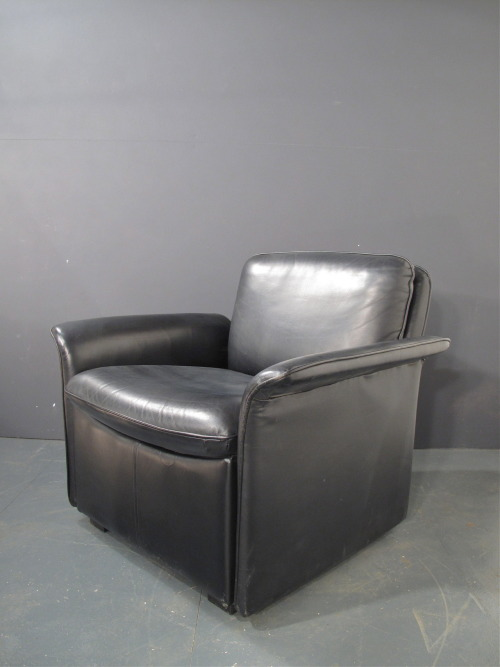 a 1970s black leather armchair by howard keith. super soft leather - labelled. SOLD