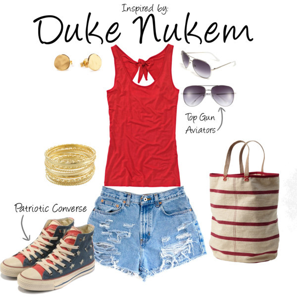 "Duke Nukem by ladysnip3r featuring bangle jewelry This outfit is the first of our Fourth of July outfits! We'll have a guy outfit later this evening inspired by another proud American character. I chose a red shirt and paired it with ripped denim shorts for a cute summer look. I also chose some patriotic converse sneakers and a red and white striped bag to add a little extra to the ""American"" flair. When doing bold accessories like this, it's best to keep it to a minimum so the outfit doesn't end up looking too theme-y. Finally, I added gold accessories to dress up the outfit a little bit. (Reference Image) Top, $37 / Vintage shorts / Levi Strauss & Co printed canvas tote bag / Miso bangle jewelry, $7.83 / Gorjana 18k jewelry / MICHAEL Michael Kors metal sunglasses"
