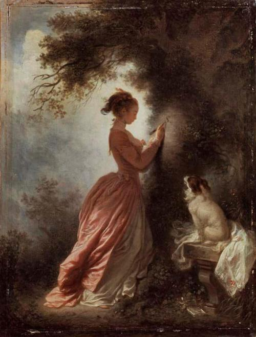 a-l-ancien-regime:  Fragonard's 'The Souvenir,' c.1776-8 In this painting a young girl carves the initial of her lover on the bark of a tree, while observed by her pet spaniel, the symbol of her fidelity.  (c) The Wallace Collection, Hertford House, Manchester Square, London