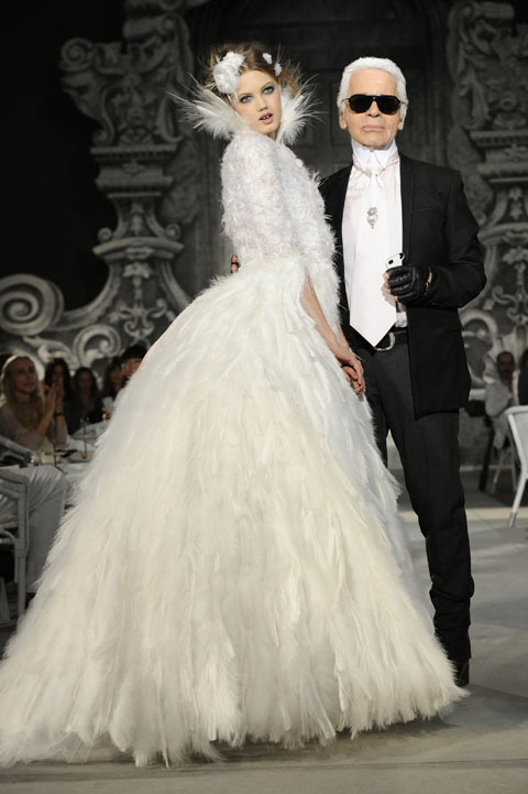 New Vintage Karl Lagerfeld and the closing bridal gown at the Chanel autumn–winter 2012–13 haute couture collection on Tuesday. (Via lucire.)