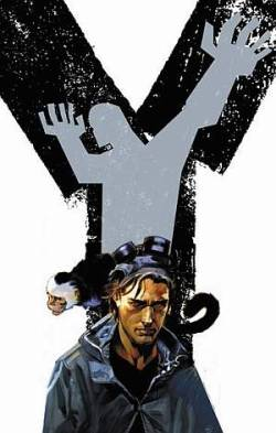 just finished Y: The Last Man by Brian K. Vaughan & Pia Guerra. Set in a world where all males have simultaneously died out besides one and his pet mokey… Spectacular stuff can't recommend it enough!