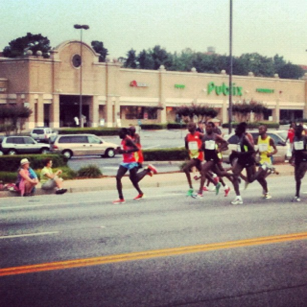 Race Leaders just passed the house. Those guys are flying. #PeachtreeRoadRace (Taken with Instagram)