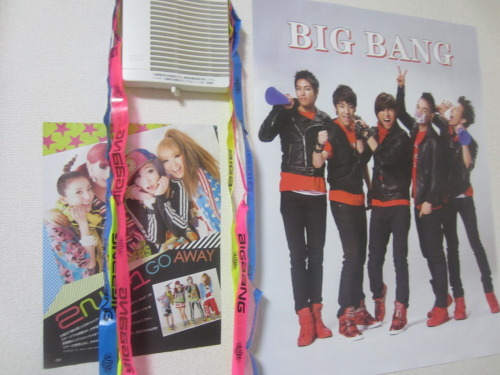 "To further decorate my home, I've added the magazine cut-out of 2NE1 and the streamers from the Big Bang fan event. They shot the streamers out while they performed, ""TONIGHT."""
