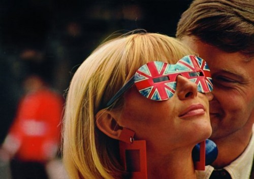 Model in Union Jack sunglasses, London, 1966.