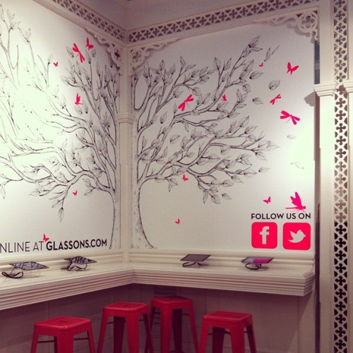 House of G interior #Glassons #iPad #Tolix #stools #insects #tree #illustration #fluro #designexplorers (Taken with Instagram)