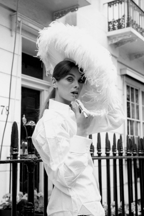 Jean Shrimpton wearing a feathered hat, June 1970.