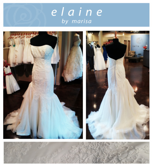 Elaine is one of our favorite gowns. She is full alencon lace, with a fit and flare silhouette. Elain's skirt is gathered with silk organza, giving her the perfect juxtaposition of a fitted bodice and a flowing skirt. In the back, Elaine has buttons down the center to add that perfect touch.  If you would like to try on Elaine or any of our other beautiful gowns, please call to set up your appointment! We'd love to have you :)