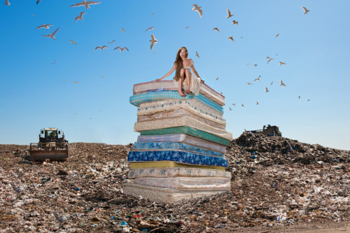 "rajadhiraj:  theblueboxboy:  Photographer Dina Goldstein's series ""Fallen Princesses"" has actually been around since 2009 but I had never posted the photographs as a complete set before. The project looks at Disney fairy tale princesses and their harshly realistic modern day lifestyles. Seems not everybody lives happily ever after. This project has won several awards, been published internationally in magazines, analyzed by experts in the field of Fairytale literature and studied in High schools and Universities."