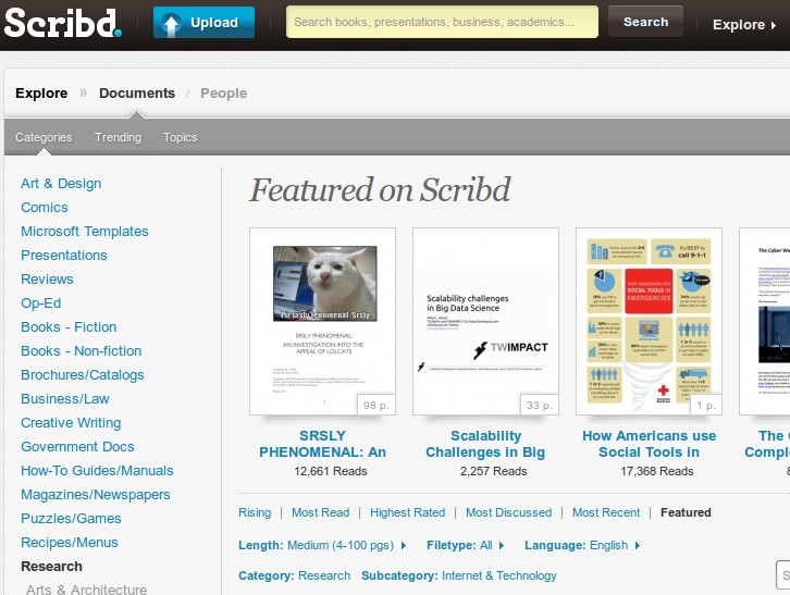 "Cool, scribd has featured my scalability talk. Right next to ""An investigation into the appeal of lolcats"" ;)  (Find my talk here in case it has been moved off in the mean time)"