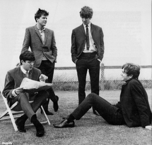 thegilly:  Paul, John and George with Billy J Kramer in Margate, July 1963. Photo by Leslie Bryce. Scan from Beatles Book Monthy No. 143.