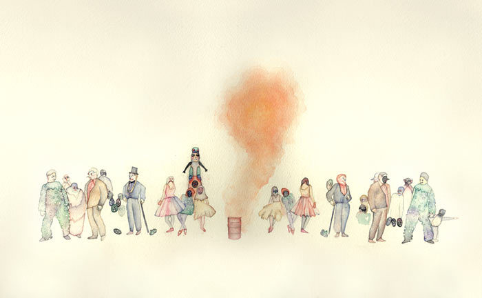 Tara MarynowskySmoke Screen Mystery, 2010Watercolor on paper  (via Tara Marynowsky)