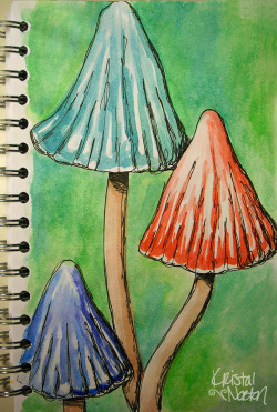 Mushroom Sketch inspired by clay garden mushrooms by Ripple Pottery.