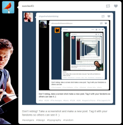 dynosawrslair:  Don't reblog! Take a screenshot and make a new post. Tag it with your fandoms so others can see it :)