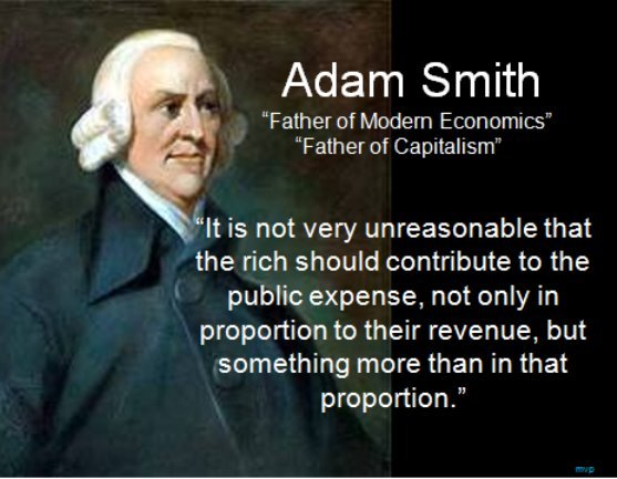 The Conservative Mugging of Adam Smith No one would be more distressed by the use to which his ideas have been put then Adam Smith, one of the greatest of the liberals of the Enlightenment. He would be appalled by the creepy spin Ayn Rand put on his philosophy and economics—and would (like Aristotle) be amused by all the Objectivists who do not realize that everything she spouted out, was misreported old news. Likewise you would not find Adam Smith on the list of character witnesses for the Wall Street Banksters, who find justification for their gluttonous greed in his ideas.Smith was not concerned with individual wealth generation (except when it was unjustly achieved through thievery by such means as mercantilism), but with the morals, political structure and culture that are most conducive to creating widespread prosperity in society.Adam Smith personally led  an enlightened life. Over 90% of his annual income was donated anonymously to philanthropic charities.
