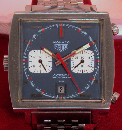 "Plenty of beautiful Red, White and Blue on this vintage Heuer ""McQueen"" Monaco.   Visit our Gallery of vintage Monacos here."