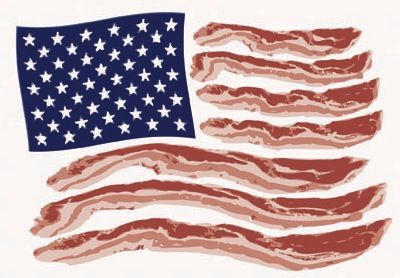 It's a flag made of bacon. I can't think of anything more American than that! Happy Independence Day. -MD eataku:  Happy Fourth of July, everyone! Good luck with all your grilling!! (Bacon flag courtesy of Lunchbox Laboratory.)
