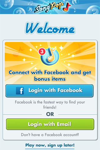 Mobile sign up screen: Songpop's sign up screen offers a bonus for facebook sign ups (preferred way to sign up), you may sign up using an email address and you may well start playing without even signing up.