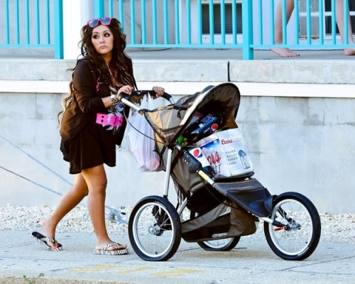 How You Know Snooki Will Be A Great Mother:  Because look how well she takes care of the beer in her stroller.