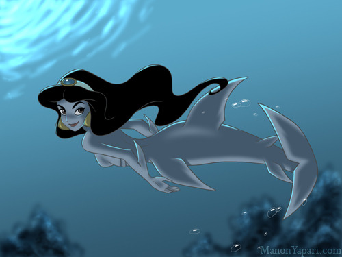 "I would be more of a sharkmaid than a mermaid. Id totally have Ariel for breakfast. ""Jasmine as a Sharkmaid"" by Manon Yapari"