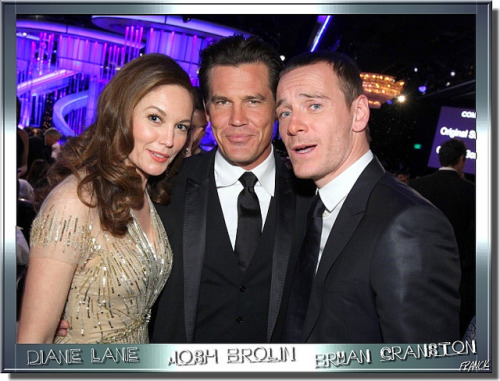 yourareunearthlything:  mrsdolowey:  MICHAEL FASSBENDER, DIANE LANE & JOSH BROLIN    I'm also laughing at the fact he's been identified as Bryan Cranston.  WHAT.
