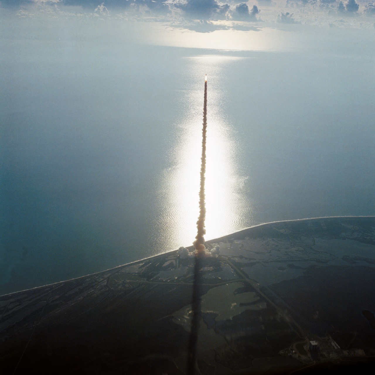 Launch of the Space Shuttle Discovery from the NASA Kennedy Space Center, 1984. It was the third operational orbiter following the Space Shuttle's Columbia and Challenger.