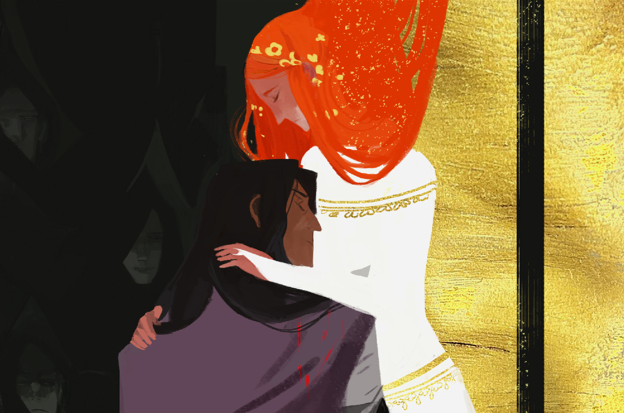 seventypercentethanol:  Lancelot and Guinevere. Preview for an illustration for the upcoming Fate Historia artbook. (The original legends state Arthur had his queen burned at the stake for her adultery, and Lancelot saves her, though Fate/Zero changed this… BUT this is a series where King Arthur is a woman so, you know.)