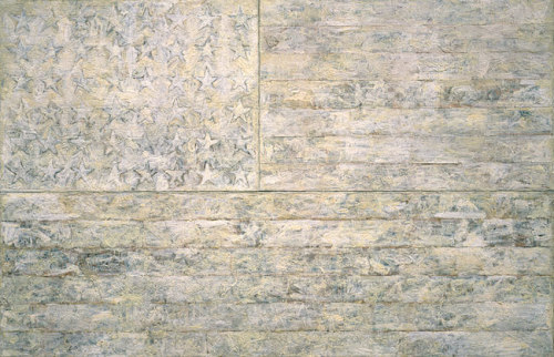 matt-niebuhr:  White Flag, 1955Jasper Johns (American, born 1930)Encaustic, oil, newsprint, and charcoal on canvas 78 5/16 x 120 3/4 in. (198.9 x 306.7 cm)