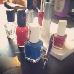 Things are about to get patriotic up on these #nails #usa (Taken with Instagram)
