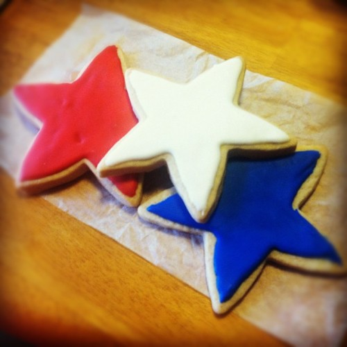 Red, white, and blue star cookies! Happy 4th of July! #4thofjuly #july4th #cookie #star #usa #us #america #amercia #patriotic (Taken with Instagram)