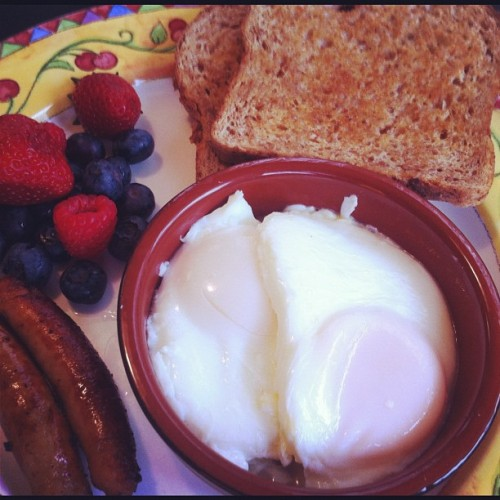 4th of July perfectly poached medium eggs!!  (Taken with Instagram)