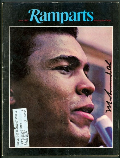 Ramparts, June 1967On the cover: Muhammad Ali, art director: Dugald Stermer See some classic Muhammad Ali photographs at Boom Underground, who is posting them as part of a month-long series on Hunks We Were Hot For, male heart-throbs from the 1960s & 70s.