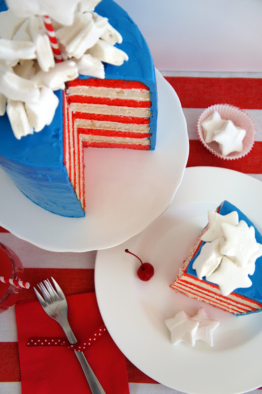 "yummyinmytumbly:  ""Fourth of July"" Cake"