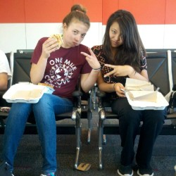 Whitney and Maya at OAK airport. (Taken with Instagram)