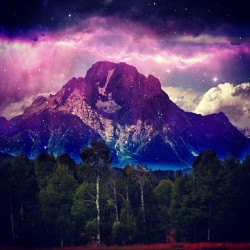 Space mountain #mountain #nature #trees #lightning #dark #purple #pictwo #jj #eavig  (Taken with Instagram)