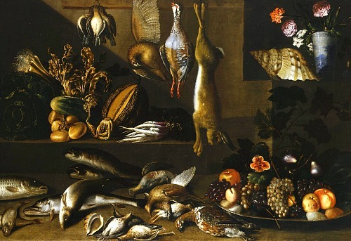 Francisco de Herrera the Younger Still Life of Larder Scene 1640-49