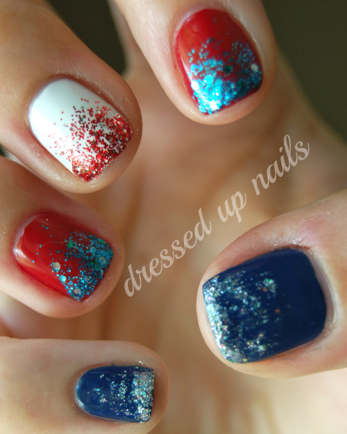 dressedupnails:  Patriotic glitter gradients on my right hand! My friend Brittony was hanging out painting her nails with me and she did glitter gradients and I got jealous of how pretty they were so decided to do them too! This pic is also a part of this post. ON MY NEW BLOG LOL.