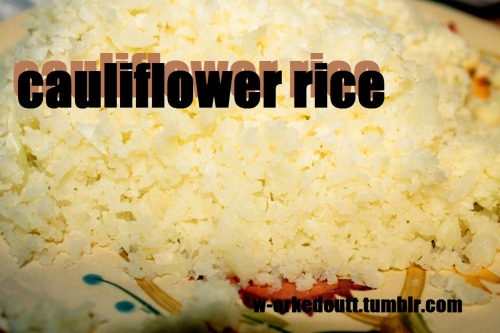 this is a low carb, low calorie substitute for white rice that is just as soft and delicious.  1/2 a head of cauliflower, or a whole, depending on how much. *a little goes a long way, though. 1. grate the cauliflower on a cheese grater to create the shredded appearance of rice. 2. steam it for about 5 minutes or until soft. (if you dont have a steamer, place it all in a collender over a pot of boiling water.