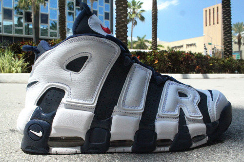 "Nike Air More Uptempo - Olympic new pics of next week's Uptempo release.  Navy base with a giant White leather AIR on the side and Sport Red Swoosh on the tongue tag.  really crazy looking shoe, but I really like these. click here for more pics, and get these July 7th Related articles Nike Air More Uptempo ""Dream Team"" (sneakernews.com)"