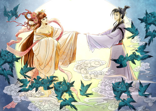 fromthefloatingworld:  The Tanabata (七夕) story comes from a Chinese folktale. Orihime (織姫), the daughter of the King of the Heavens Tentei (天帝), worked every day weaving cloth. One day, she met Hikoboshi (彦星), a cow herder who also worked in the heavens. They fell in love and began to spend all of their time together, neglecting their duties entirely. Annoyed with their irresponsible behaviour, Tentei separated the lovers on opposite sides of the celestial river Amanogawa (天の川, the Milky Way), forbidding them to see each other. However, Tentei was soon moved by his daughter's grief and decided that Orihime and Hikoboshi would be allowed to be together once a year, on the seventh day of the seventh month. When the time came for them to finally be reunited, they found to their dismay that there was no bridge that they could cross. Orihime began to cry, which caught the attention of a flock of magpies, who formed a bridge with their wings so that she could cross and be with Hikoboshi once more.   So interesting. I like it.