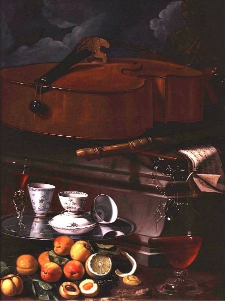 Christoforo Munari Still Life with Porcelain and Musical Instruments 18th century
