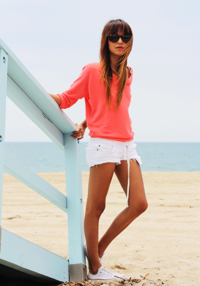what-do-i-wear:  Sweatshirt: American Eagle  |  Shorts: Brandy Melville (similiar here & here) |  Sneakers: Converse  |  Sunglasses: Karen Walker  |  Necklace: gifted Lauren Elan (image: sincerelyjules)