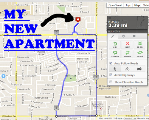 This was my run today and oh yeah, my new apartment! This was a very exciting and eventful run. IT WAS RAINING! If you know anything about Arizona you'll know that is a desert, and if you know anything about the desert you'll know it NEVER rains. So when I woke up this morning I was very pleased to see it was raining. I decided on a modest three mile run, with a faster pace, instead of my normal 4-6 mile run with a slower pace. I finished in 27 minutes, which for me is pretty fast. I didn't stop at all and muscle pain in my legs was almost none existent. What a great way to start such a celebratory day. Now I just hope the weather clears up so I can watch fireworks tonight. Hope everyone has a great Independents Day!